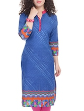 Blue, Pink, Orange, Light Green Cotton Long  Kurta - By