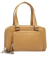 Beige Plain Solid Leatherette Hand Bag -  online shopping for handbags
