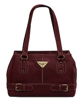 Cherry brown faux leather front buckled strap handbag -  online shopping for handbags