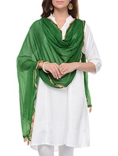 Green Cotton Plain  Dupatta - By
