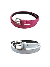 Pink, White Leatherette Combos Belt - By