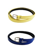 Yellow, Blue Leatherette Combos Belt - By