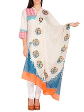White Poly Cotton Printed  Dupatta - By