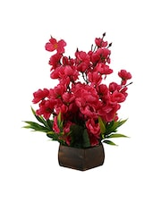 Artificial Cherry Blossom Flower Plant With Wood Pot -  online shopping for Flowers