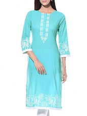 Turquoise Printed Round Neck Cotton Kurta - By