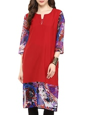 Red, Blue Poly Crepe, Georgette Kurta - By