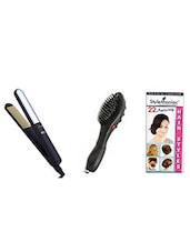 STYLE MANIAC Ceramic Hair Straightener: & Massager Brush - By