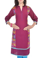 Maroon Cotton Regular Kurta - By