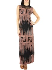 black brown crepe maxi  dress -  online shopping for Dresses