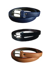 Blue, Black, Beige Leatherette Combos Belt - By
