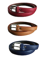 Red, Beige, Blue Leatherette Combos Belt - By