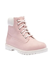pink leatherette ankle  boots -  online shopping for boots
