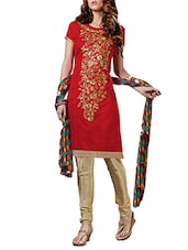 red chanderi unstiched suits unstitched suit -  online shopping for Unstitched Suits