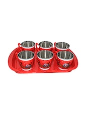 Paramveer Multicolour Plastic Tea Cup Set Of 6 With Tray -  online shopping for Cups