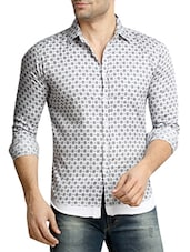 white printed cotton casual shirt -  online shopping for casual shirts
