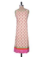 Beige Cotton Printed Sleeveless Long Kurta - By