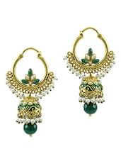 Gold,green Brass Jhumka Earring - By