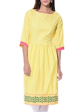 Yellow cotton colour block A-line kurta -  online shopping for kurtas