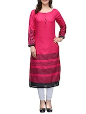 Fuschia Rayon Long  Kurta - By