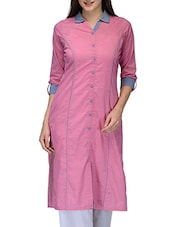 pink cotton regular kurta -  online shopping for kurtas