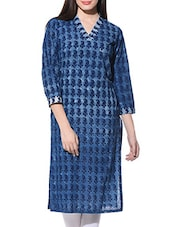 Indigo Cotton Hand-Block Printed Kurta - By