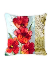 Leaf Designs Red & Green Floral Cushion Cover - By