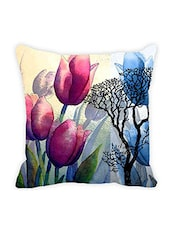 Leaf Designs Blue & Pink Floral Cushion Cover - By