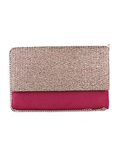 Pink Woven Pattern Leather Clutch -  online shopping for clutches