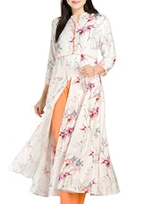 Off White Printed Viscose Long  Kurta - By