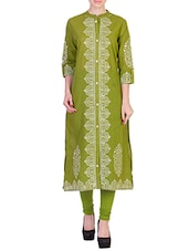 Light Green Cotton Long  Kurta - By