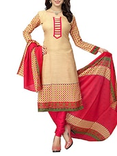 beige ,  pink french crepe unstitched suit -  online shopping for Unstitched Suits