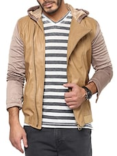 beige leather casual jacket -  online shopping for Casual Jacket