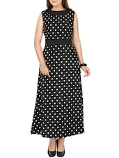 black & white polycrepe maxi  dress -  online shopping for Dresses