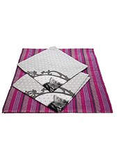 100% Cotton 2 Table Mats With 2 Table Napkin Set Pink/Grey - By
