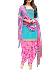blue, pink crepe patiyala suits unstitched suit -  online shopping for Unstitched Suits