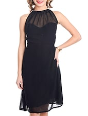 Black High Neck Halter Dress - By