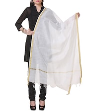 White Chanderi Silk Plain  Dupatta - By