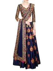 blue silk lehenga -  online shopping for lehengas