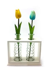 Wooden Frame With 2 Glass Vases - By