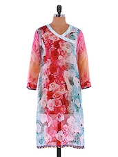 Multicoloured Rose Printed Georgette Kurti - By