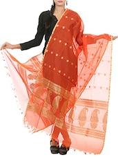 Orange Banarasi Silk Hand Woven Dupatta - By