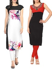 white,black faux crepe regular kurti -  online shopping for kurtis