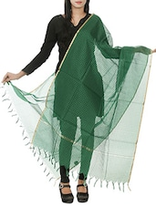 Green Cotton, Silk Dupatta - By