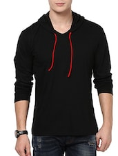 solid black cotton hood t-shirt -  online shopping for T-Shirts