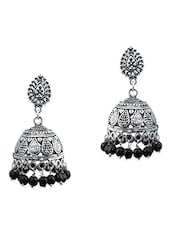 Silver, Black Brass Jhumka Earring - By