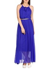 blue poly georgette dress -  online shopping for Dresses