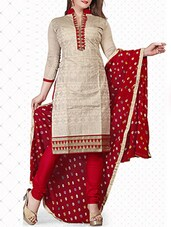 beige cotton blend dress material -  online shopping for Dress Material