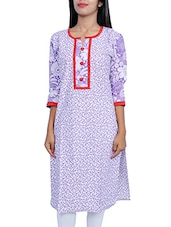 Purple Floral Printed Cotton Kurta - By