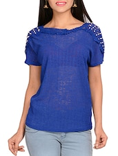 royal blue weft knit fabric top -  online shopping for Tops