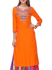 Varanga Orange Rayon Kurta With Palazzo - By